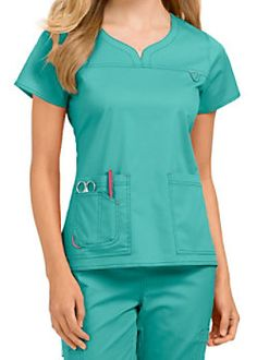 by Med Couture Lexi notch neck scrub top Scrubs Outfit, Scrubs Uniform, Scrub Suit Design, Med Couture Scrubs, Scrubs Pattern, Stylish Scrubs, Medical Uniforms, Medical Scrubs, Nurse Scrubs