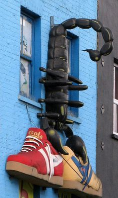 Not really a window but who needs window display when you have giant sneakers? Camden Town, London!