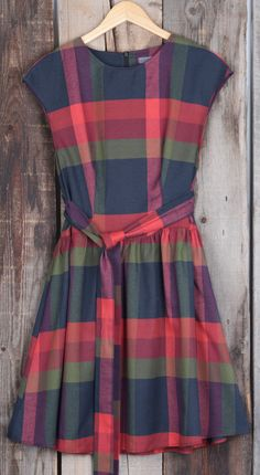 Vintage A-line Plaid Dress, $28.99! Free Shipping! It features ornamental belt and plaid pattern. This dress is going to be great morning, noon and night!