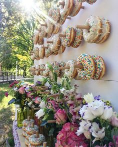 Donuts wall full of fresh donuts and flowers! Candy Bar Wedding, Our Wedding, Wedding Planner, Destination Wedding, Bridesmaid Dresses, Wedding Dresses, Happily Ever After, Dessert Table, Event Planning