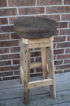 """YOUR Custom Reclaimed Rustic and Recycled 18"""" - 36"""" Upholstered Round Swivel Stools with paint or stain FREE SHIPPING - RBSSLC158F Rustic Bar Stools, Recycling, Handmade Gifts, Free Shipping, Painting, Furniture, Vintage, Color, Etsy"""