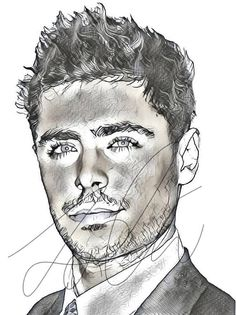 efron zac drawing drawings sketch celebrity pencil sketches simple