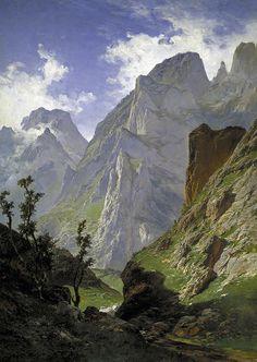 """Carlos de Haes (Spanish, ) """"Paso de Mancorbo,  Picos de Europa."""""""