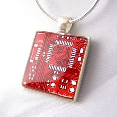 Red Circuit Board Necklace by ~Girlgeekboutique on deviantART