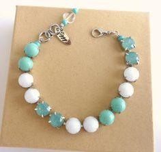 Swarovski crystal bracelet turquoise and white by SiggyJewelry, $32.00 Sabika inspired