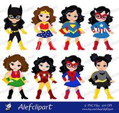 SVG files, Girls in superhero costume. SVG, Silhouette Cut Files, Cricut Cut Files -Personal and Com Superhero Clipart, Superhero Party, Batman Party, Superhero Invitations, Anniversaire Wonder Woman, Scrapbook Kit, Simple Collage, Dc Super Hero Girls, Super Hero Costumes