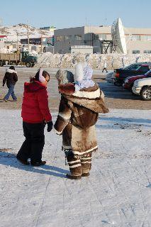 Inuit Mother carring her baby, 2011. Iqaluit, Nunavut. Canada!