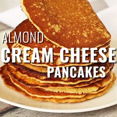 Almond Cream Cheese Pancakes - Keto Breakfast - Ideas of Keto Breakfast - Deliciously light and fluffy Keto pancakes! This almond cream cheese pancake recipe is super easy. Perfect for your next low carb breakfast sugar free and gluten free! Low Carb Keto, Low Carb Recipes, Cooking Recipes, Recipes For Diabetics Easy, Low Carb Food, Carb Free Meals, Easy Low Carb Meals, Gluten Free Recipes Videos, Carb Free Diet