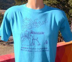 vintage 90s t-shirt PLAYGROUND help build school soft thin