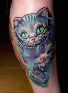 Alice in Wonderland Cheshire Cat & White Rabbit tattoo Cheshire Cat Drawing, Cheshire Cat Tattoo, Tattoo Cat, Black Cat Tattoos, Leg Tattoos, Body Art Tattoos, Tatoos, White Rabbit Tattoo, Rabbit Tattoos
