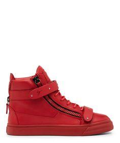 Giuseppe Zanotti, Matte Hardwear Leather Mid Top Sneaker (Red)