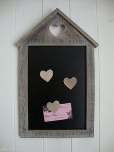 Heart Magnetic Memo Chalk Board, Wooden Lime Washed, Shabby Distressed Chic