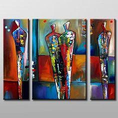 modern abstract olieverfschilderij met gestrekte frame set van 3 met de hand beschilderd doek - EUR € 101.52