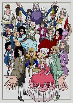 "Versailles no bara ""cast"" よろずらくがき帳 Old Anime, Manga Anime, Lady Oscar, How To Draw Anime Eyes, Anime Kiss, Anime Princess, Fantasy Illustration, Vintage Comics, Yandere"