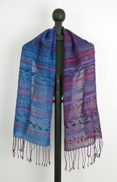 Hand woven scarf in Blue to Purple 0007 by Timeja on Etsy, $85.00