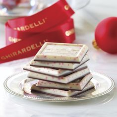 Dress up your holiday table with Peppermint Bark | http://www.ghirardelli.com/squares13/?utm_source=Pinterest&utm_medium=Social&utm_campaign=peppermintbark