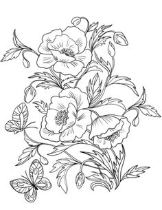 Blossom Poppies coloring page from Poppies category. Select from 28458 printable crafts of cartoons, nature, animals, Bible and many more. Poppy Coloring Page, Coloring Book Art, Flower Coloring Pages, Colouring Pages, Mandala Coloring, Coloring Sheets, Free Adult Coloring Pages, Free Printable Coloring Pages, Embroidery Flowers Pattern