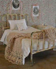 Vintage Miniature Crocheted Ecru Blanket or Rug for Blythe