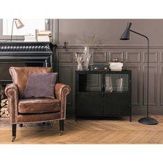 Credenza nera con vetrine stile industriale in metallo L 87 cm