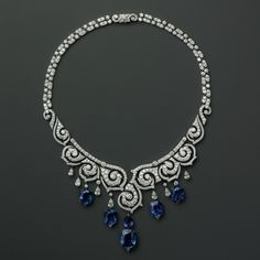 Cartier. Platinum necklace with sapphires and diamonds.