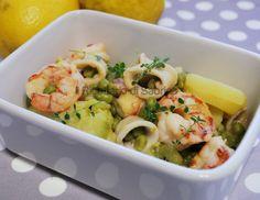Insalata di mare calda con verdure