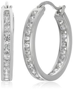 Sterling Silver Cubic Zirconia Medium Round Hoop Earrings (3/4 cttw) *** You can find more details by visiting the image link.