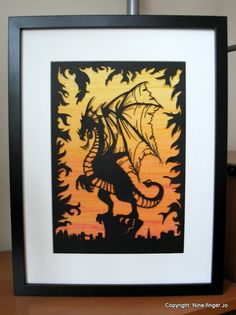 Papercut Art, A4 | Fantasy Dragon - Original Papercutting | Dragon Sunset Fantasy Papercutting | Papercut Silhouette | Papercut Illustration by NineFingerJo on Etsy https://www.etsy.com/listing/204432268/papercut-art-a4-fantasy-dragon-original