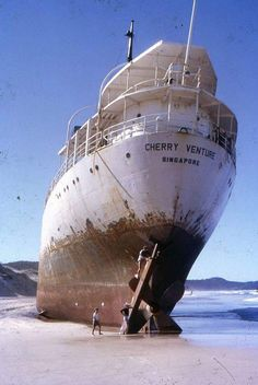 MV Cherry Venture; 812 tons; 91.1x12.8x5.8 m.; Owned by Sea Tanker; Built in 1945. Registered at Singapore. 08 July 1973: sailing from Napier for Singapore in ballast, she ran aground on Teewah Beach, off Double Island Point, Wide Bay. SE Queensland. Removal of the wreck for safety reasons began in February 2007 The ship's brass propeller is mounted as a monument in the township of Rainbow Beach. ref. used: Australian National Shipwrecks Database, environment.gov.au