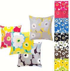 Cheery Marimeko fabric pillows  Wallpapers too  Textile Arts