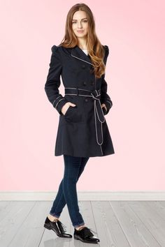 Fever Cowney Navy Blue Trenchcoat  151 10 13998 20150311 0009W