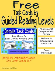 Literacy & Math Ideas: Free Task Cards Organized by Guided Reading Levels/Lexile Levels