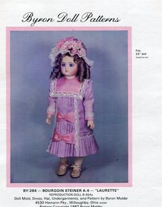 """Byron Doll Pattern 1980's BY-284 Bourgoin Steiner Laurette 22"""" Dress New Old Store Stock Sewing Pattern by LanetzLivingPatterns on Etsy"""