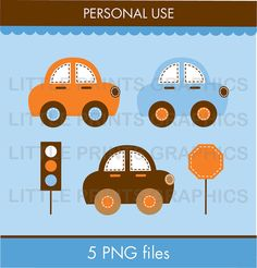 Transportation Car Boys Clip Art for by LittlePrintsParties, $5.00