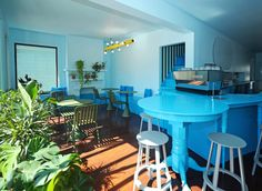 Coryn Kempster and Julia Jamrozik design sky-blue cafe in Buffalo. Wooden Pegboard, Cafe Interior, Interior Design, Blue Cafe, Color Plan, Garden Table And Chairs, Reclaimed Furniture, Minimal Home, Cool Cafe