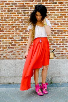 Love everything BUT the shoes. mullet skirts= summer 2012.