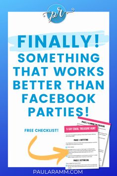 Facebook parties not working? Try email parties instead-they are brand new and so much more effective and fun! Easy for the hostess and easy for YOU! A no-pressure way to get sales, hostesses, and team members! Click this post to learn how, and get a free step-by-step checklist! | direct sales tips | facebook parties games direct sales | network marketing tips #directsalesgames
