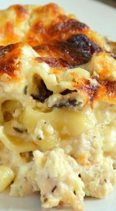 An amazingly cheesy chicken lasagna that kicks ass! Kick Ass Chicken Lasagna is THE BEST. It is also perfect to take to a neighbor or friend. Chicken Thights Recipes, Chicken Parmesan Recipes, Chicken Salad Recipes, Recipe Chicken, Lemon Chicken, Easy Chicken Lasagna Recipe, Chicken Scampi, Broccoli Chicken, Garlic Parmesan