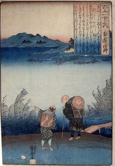 Kuniyoshi, 100 Poets 70 - The Monk Ryosen-Utagawa Kuniyoshi, japanese woodblock prints