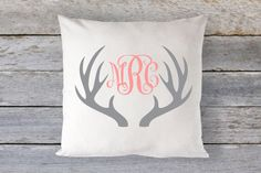 Pillow Cover 16 x 16  Custom Antlers with Vine by GRACEandCRUZ