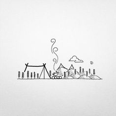 Line art, camping cartoon, minimalist drawing, minimalist style, hipster do Simple Line Drawings, Mini Drawings, Sketchbook Drawings, Doodle Drawings, Easy Drawings, Drawing Sketches, Sketchbook Ideas, Simple Doodles Drawings, Drawing Ideas
