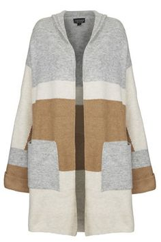 Hooded Colour-Block Cardigan