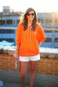 billowy top with white shorts...bring on the summer!