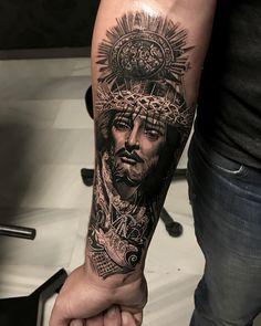 Jesus Christ tattoo by Alex Legaza