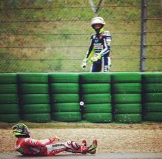 Valentino Rossi crashed during misano free practice, followed by Cal crutchlow crashing Funny shot 2014