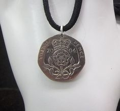 England Coin Necklace 20 Pence Coin Pendant by AutumnWindsJewelry
