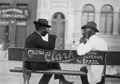 Men chatting on a park bench. Sao Paulo. 1910