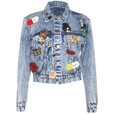 Alice + Olivia Chloe Cropped Denim Jacket ($695) ❤ liked on Polyvore featuring outerwear, jackets, tops, beaded jacket, cropped jean jacket, summer jackets, alice olivia jacket and blue jackets