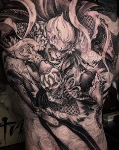 "7d8193045ee5d ... 齐天大圣》the monkey king back piece completed @chronicink #wearproud  #workproud #tattooistartmag #inkedmag #chronicink #tattoos #asiantattoo…"""