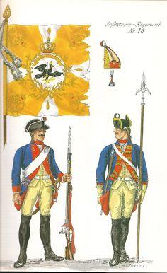 Prussia; Infantry Regiment Nr.16, c.1750 by G.Donn