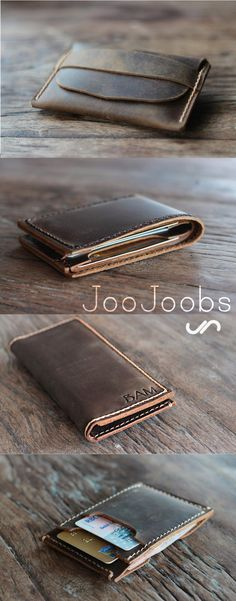 Handmade Leather Wallets by JooJoobs. Top picture - Listing 014 2nd picture - Listing 002 3rd picture - Listing 065 4th picture - Listing 031 All handmade, hand-stitched perfect. #Wallets